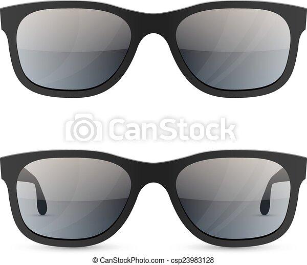 lunettes soleil, classique, isolé, arrière-plan., vecteur, gabarit, blanc - csp23983128