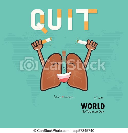 lung cute cartoon character and broken cigarette with stop smoking
