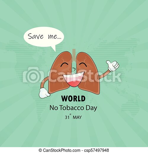 lung cute cartoon character and stop smoking vector logo design