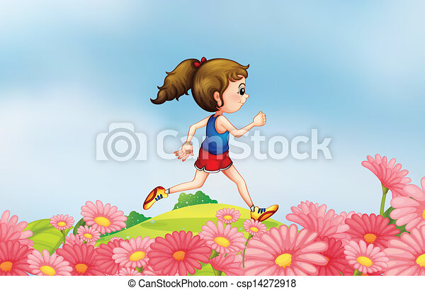 lungo, correndo, giardino, ragazza, collina - csp14272918