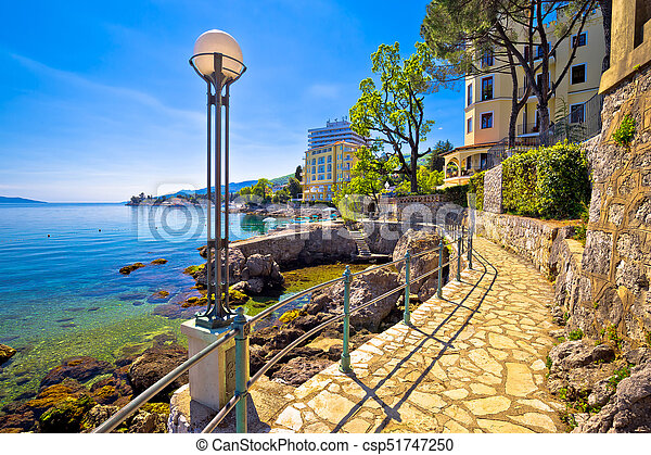 Lungomare coast famous walkway in Opatija - csp51747250