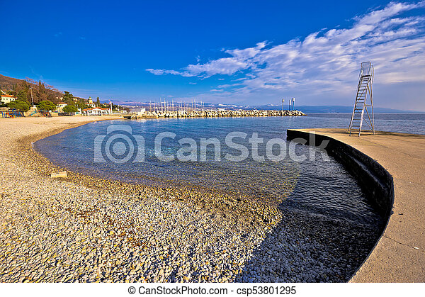 Lungomare famous waterfront walkway in Opatija beach view - csp53801295