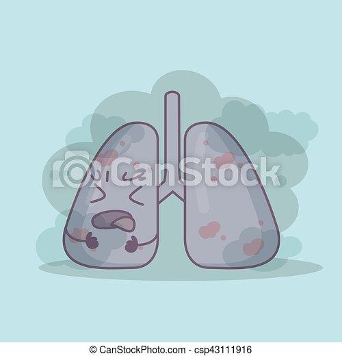 Lungs Coughing After Inhaling Smoke - csp43111916