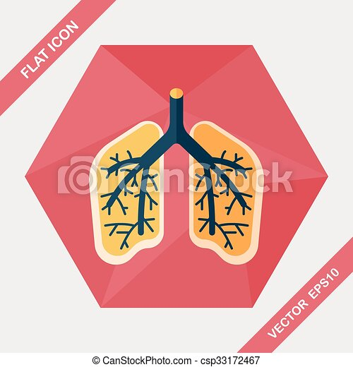 Lungs flat icon with long shadow - csp33172467