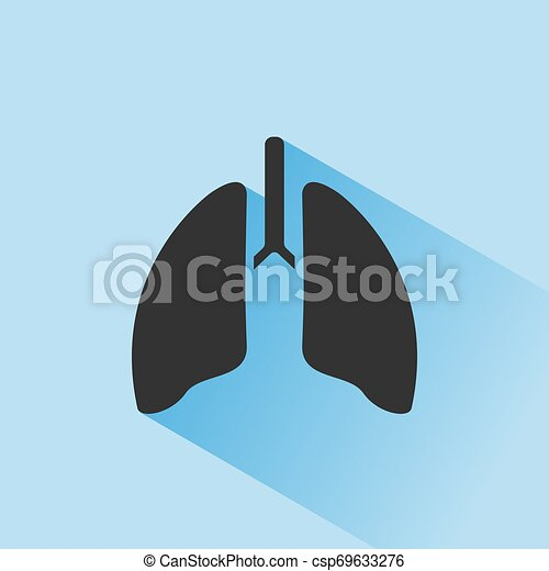 Lungs icon with shade on blue background - csp69633276