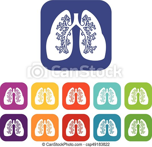 Lungs icons set - csp49183822