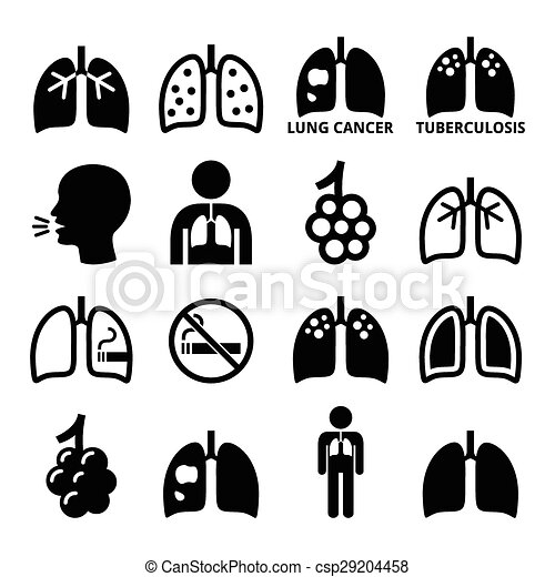 Lungs, lung disease icons set - csp29204458