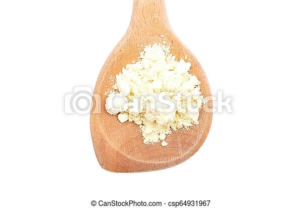 Lupin flour on wooden spoon on white background - csp64931967
