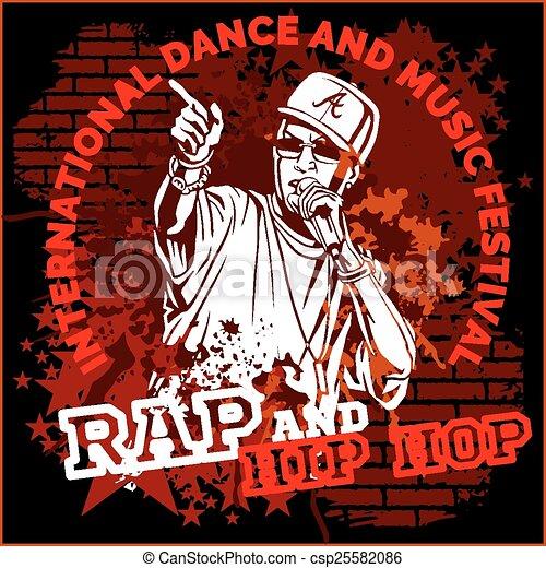 luppolo anca, manifesto, -, vettore, graffito, rap - csp25582086