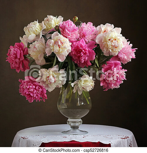 Lush Bouquet Of Pink Peonies In A Vase On The Table Lush Bouquet Of