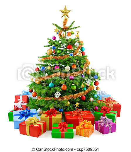 Lush christmas tree with colorful g - csp7509551