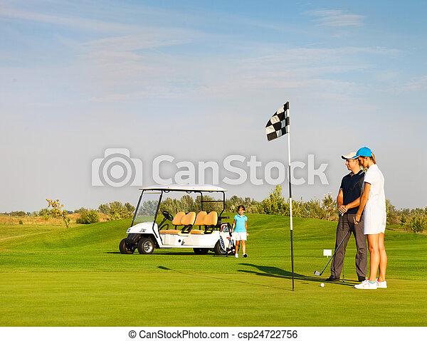 Lustig Kurs Golfen Spielende Familie Lustig Golfen Familie