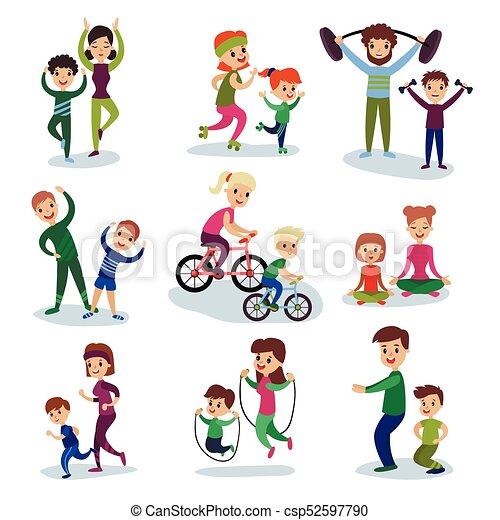 Lustig Training Kinder Familie Satz Begriff übungen Zusammen