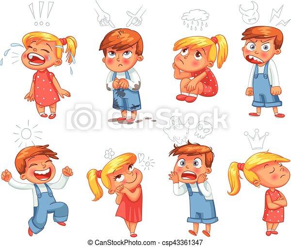 Grundlegende Gefühle. Komischer Zeichentrickfilm - csp43361347