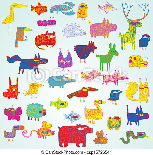Lustiges, grunge, doodled, farben, sammlung, tiere, pop-art.... EPS ...