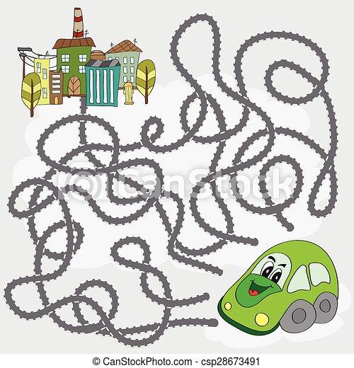 lustiges hilfe stadt auto spiel weg labyrinth finden vektor