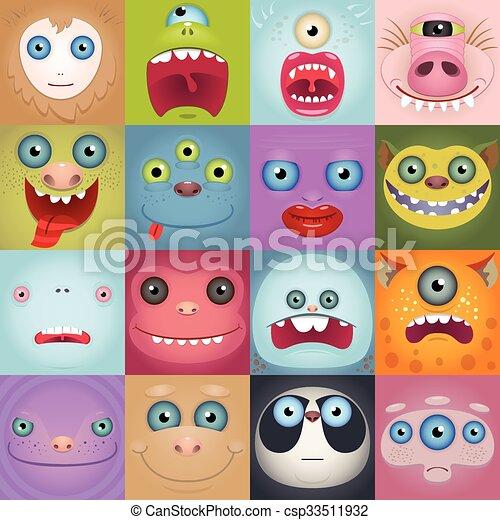 Eine Menge lustiger Monstergesichter - csp33511932