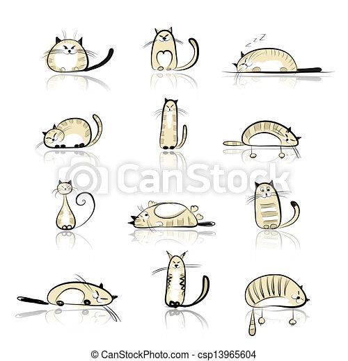 Komische Katzensammlung für Ihr Design - csp13965604