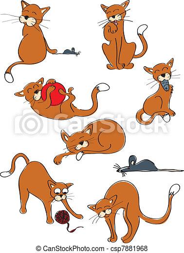 lustiges katzen collection sieben katzen maus vektor suche clipart illustration. Black Bedroom Furniture Sets. Home Design Ideas