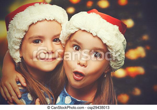 Lustiges, kinder, zwillinge, schwestern, weihnachten, glücklich ...