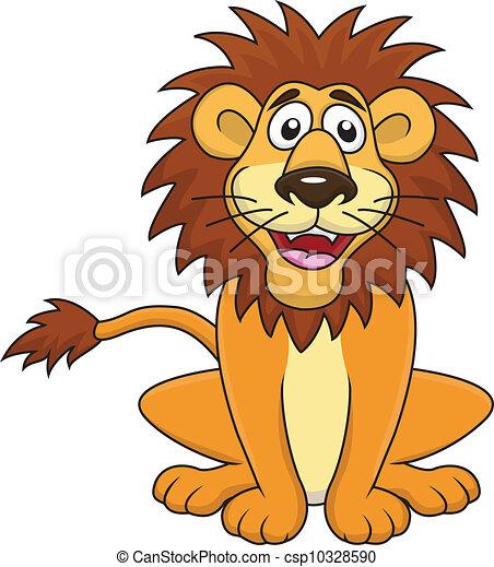 Lustige Löwen-Karikatur sitzen - csp10328590
