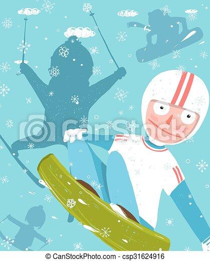 lustiges, plakat, frei, springen, ski fahrend, spaß, snowboarding, reiter, design.
