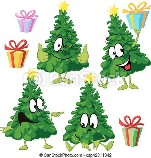Symbol Weihnachtsbaum.Lustiges Weihnachtsbaum Abbildung Hand Vektor Karikatur Gesicht Zeichnung