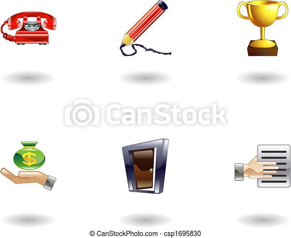 lustré, bureau affaires, ensemble, icône - csp1695830