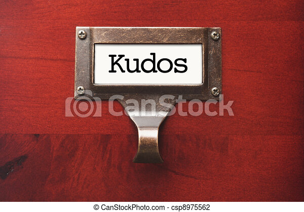 Lustrous Wooden Cabinet with Kudos File Label - csp8975562