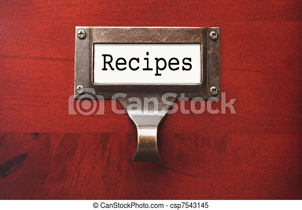 Lustrous Wooden Cabinet with Recipes File Label - csp7543145
