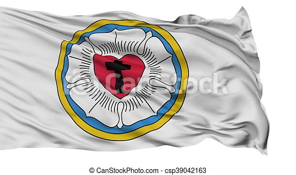 Lutheran Rose Religious Isolated Waving Flag Lutheran Rose