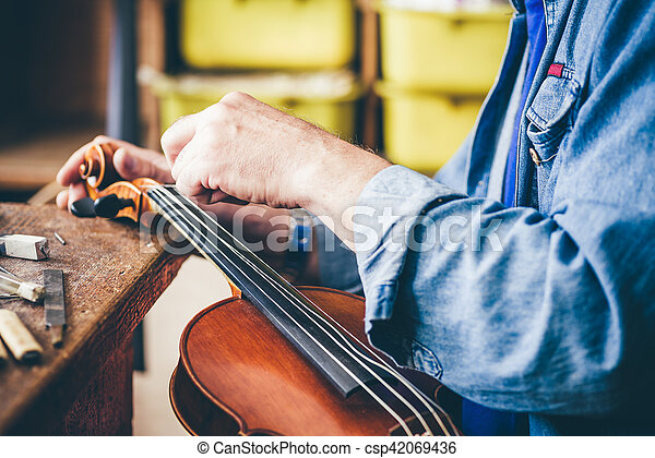 luthier, riparazione, suo, officina, violino - csp42069436
