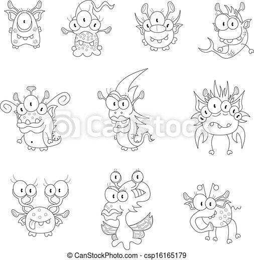 Lutins monstres dessin anim fant mes dix lutins halloween collection ou autre - Dessins monstres ...