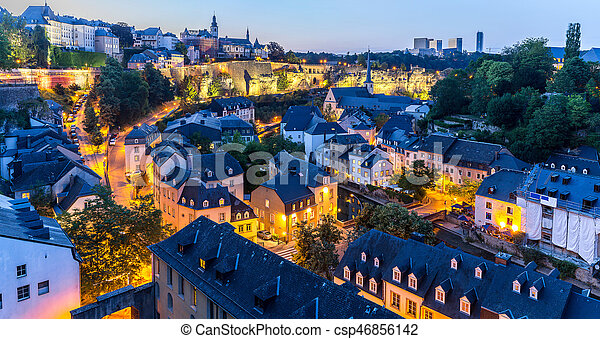 Luxembourg city night panorama luxembourg city sunset top view in luxembourg city night panorama csp46856142 thecheapjerseys Images