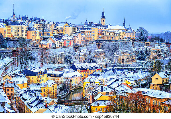 Old town of luxembourg city snow white in winter europe stock luxembourg city snow white in winter europe csp45930744 thecheapjerseys Gallery