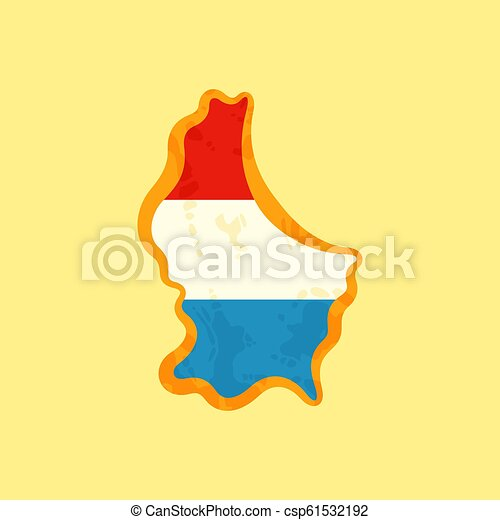 Luxembourg - Map colored with flag - csp61532192