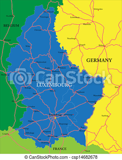 Luxembourg Map Highly Detailed Vector Map Of Luxembourg With