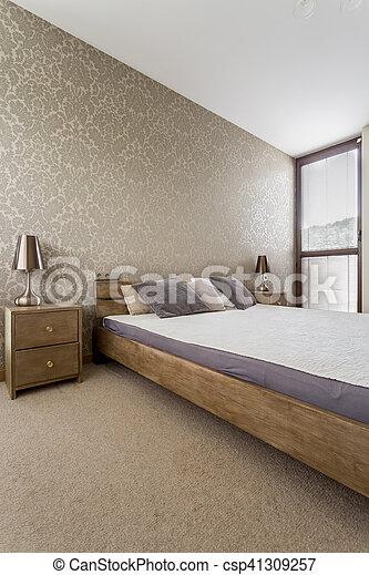 Luxueus, beige, slaapkamer. Behang, tapijt, stijl, bed, groot ...