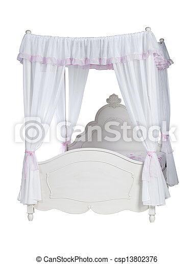 Luxurious canopy bed isolated  - csp13802376