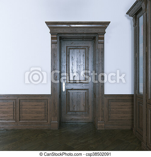 Luxurious classic wooden interior door. 3d render. - csp38502091
