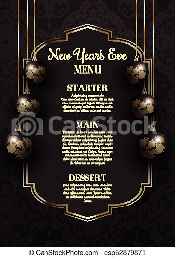 Luxurious elegant new year's eve menu design with hanging ...