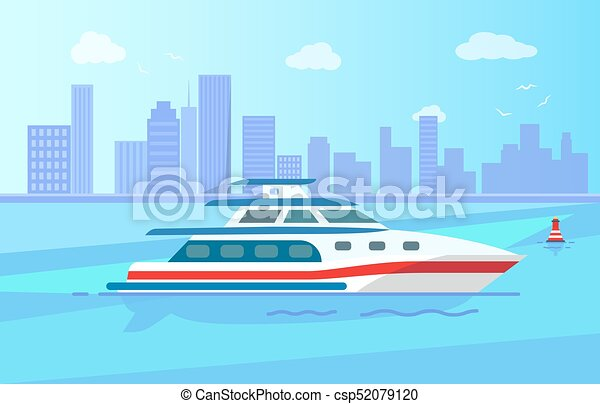 Luxurious Modern Yacht on Water Surface near City - csp52079120