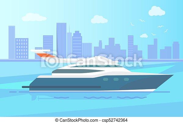Luxurious Modern Yacht Stand near Long Coastline - csp52742364
