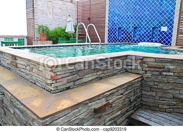 Stock Photo   Luxurious Outdoor Jacuzzi