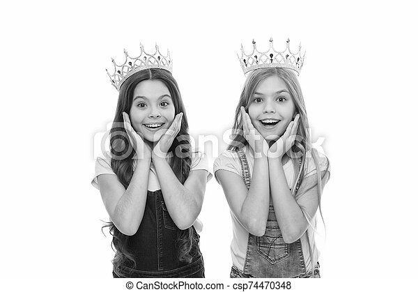 Luxury and prestige. Small cute children wearing luxury crowns. Adorable little girls with luxury and glamoury look. Reaching the height of luxury and elegance - csp74470348