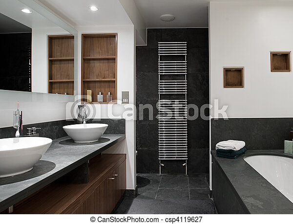 Luxury Bathroom with His and Hers Sinks - csp4119627