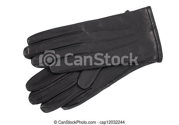luxury black leather gloves isolated on white background - csp12032244