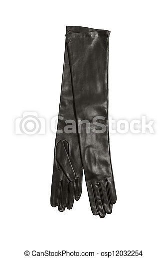 luxury black woman leather gloves isolated on white background - csp12032254