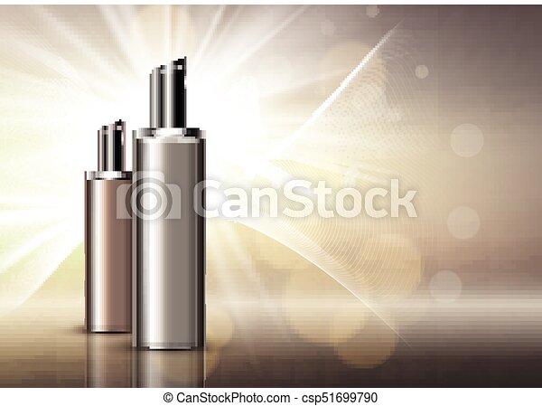 Luxury blank cosmetic bottles background - csp51699790