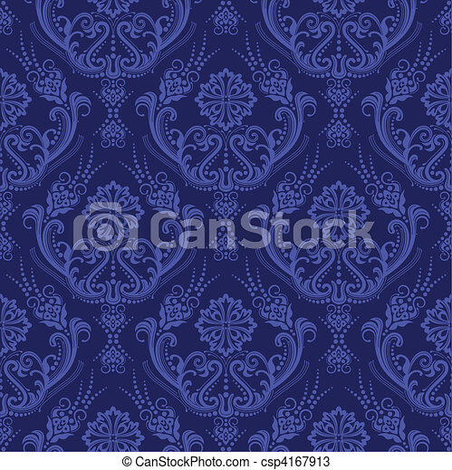 Luxury blue floral damask wallpaper - csp4167913